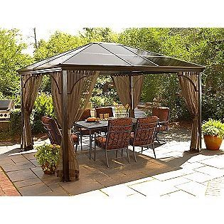 Costco Aluminum Gazebo 20and 20bbq Gazebos Sunjoy 13 Ft X 14 Ft Royal Octagon Hardtop Gazebo Hardtop Gazebo Gazebo Outdoor Living