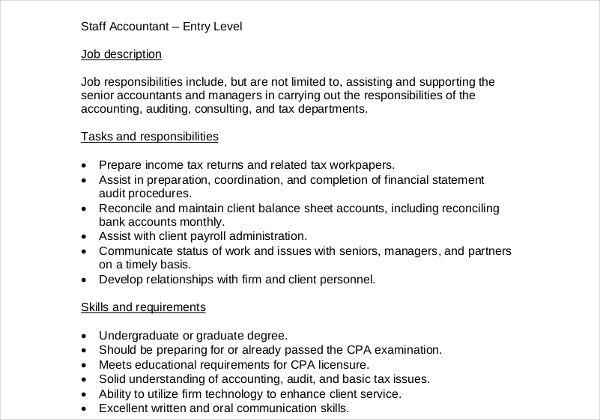 job description template - Google Search Cosas que comprar - staff accountant job description