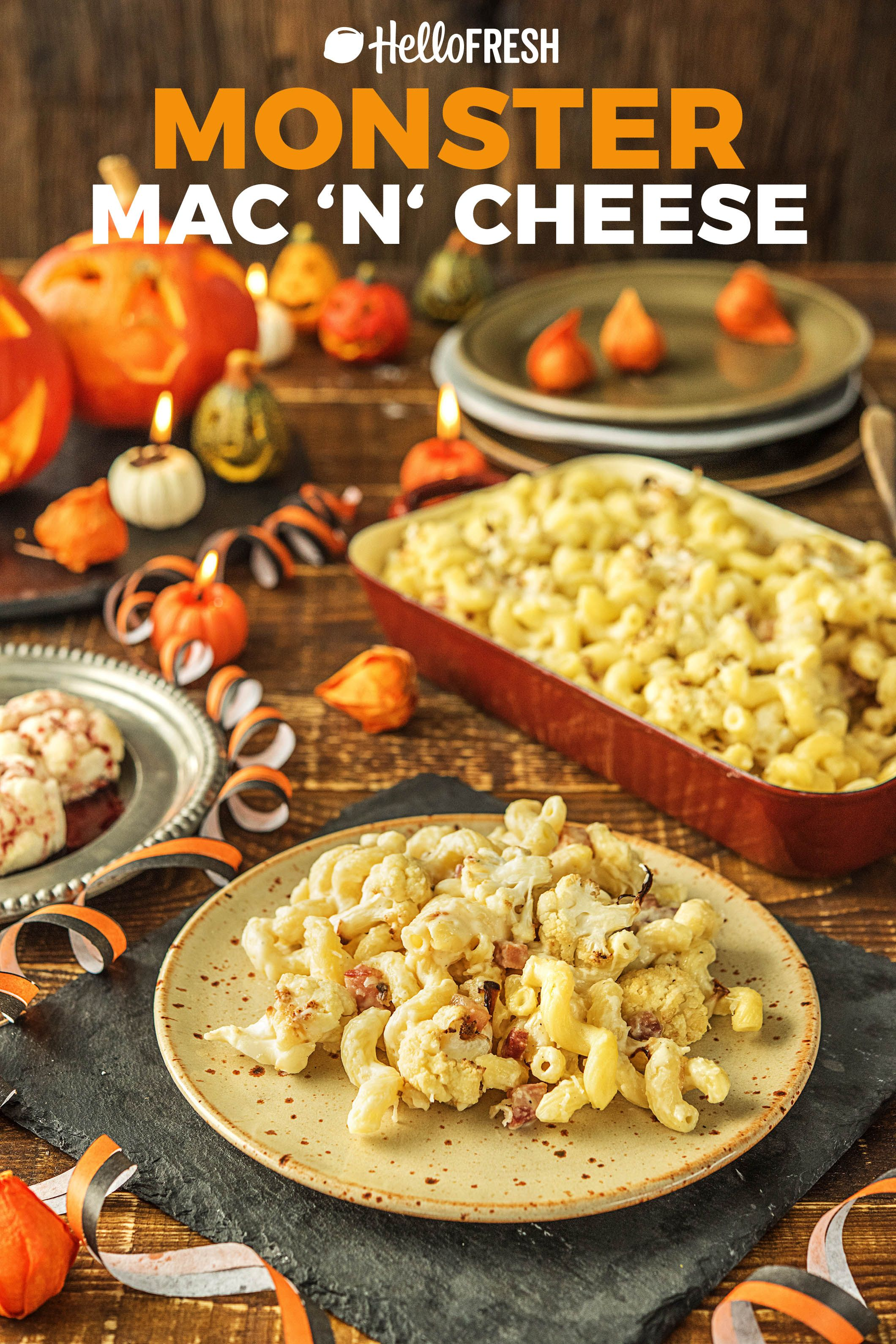 Monster Mac N Cheese With Cauliflower Brains And Pancetta Zombie Treats Recipe Food Recipes Food Mac N Cheese