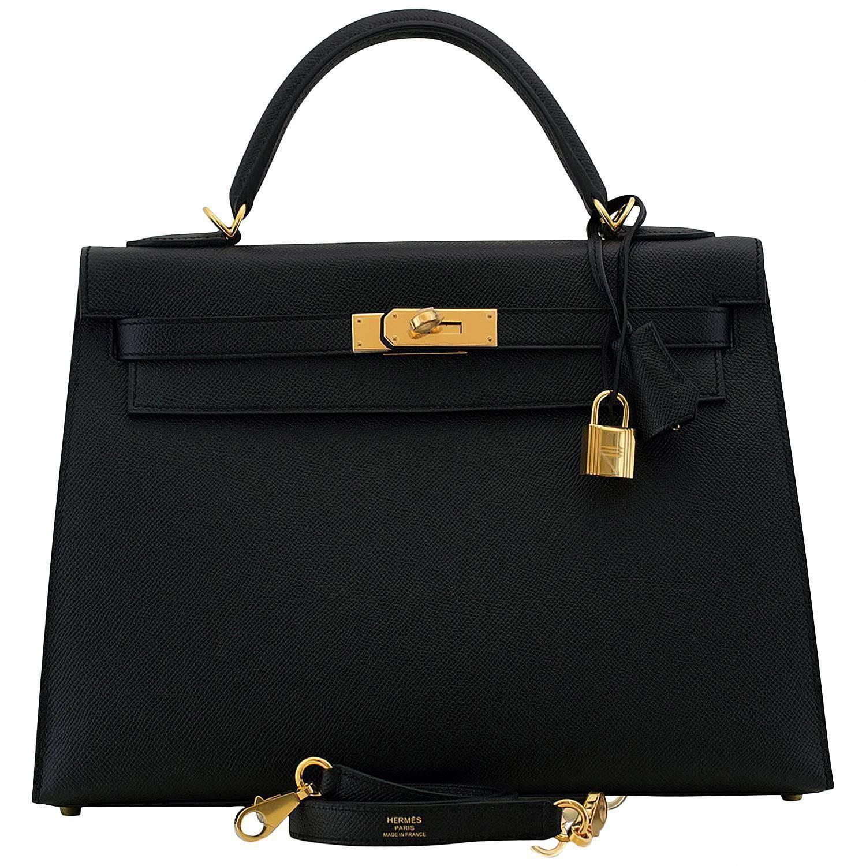 e5f0af46cdc9 Hermes Kelly Bag 32 cm Epsom Leather Sellier 89 Black Color GHW 2016 ...