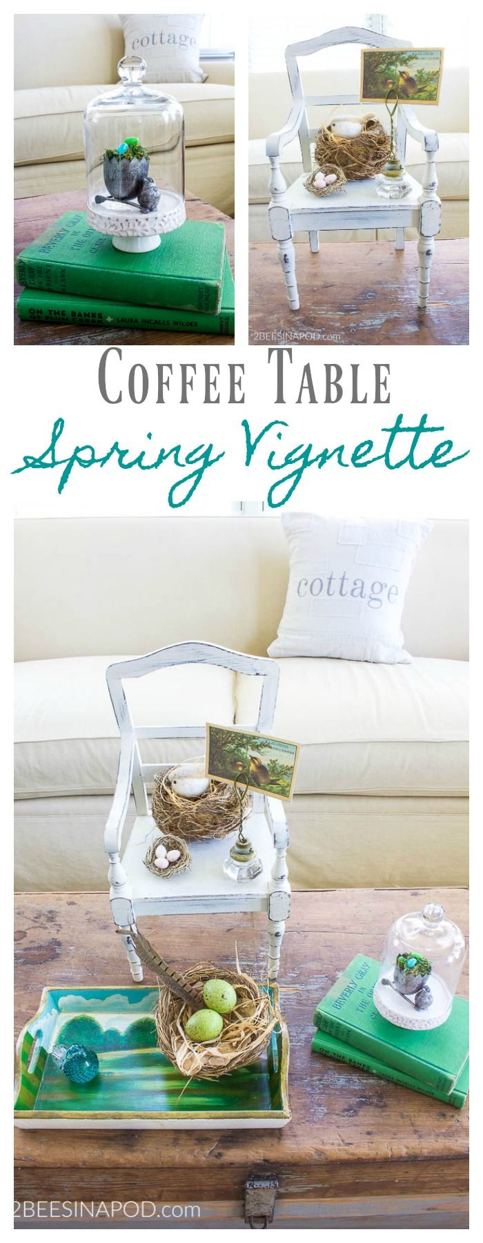 Spring Coffee Table Vignette With Nests is part of Upcycled Crafts Awesome Coffee Tables - Happy first day of Spring! Today, we are so excited to share our spring coffee table vignette  We are celebrating the arrival of the season with a Spring Festival Blog Hop, hosted by our sweet friend Kendra of Joy in Our Home  All week long 23 bloggers will be sharing all things spring in home     Read More about Spring Coffee Table Vignette With Nests