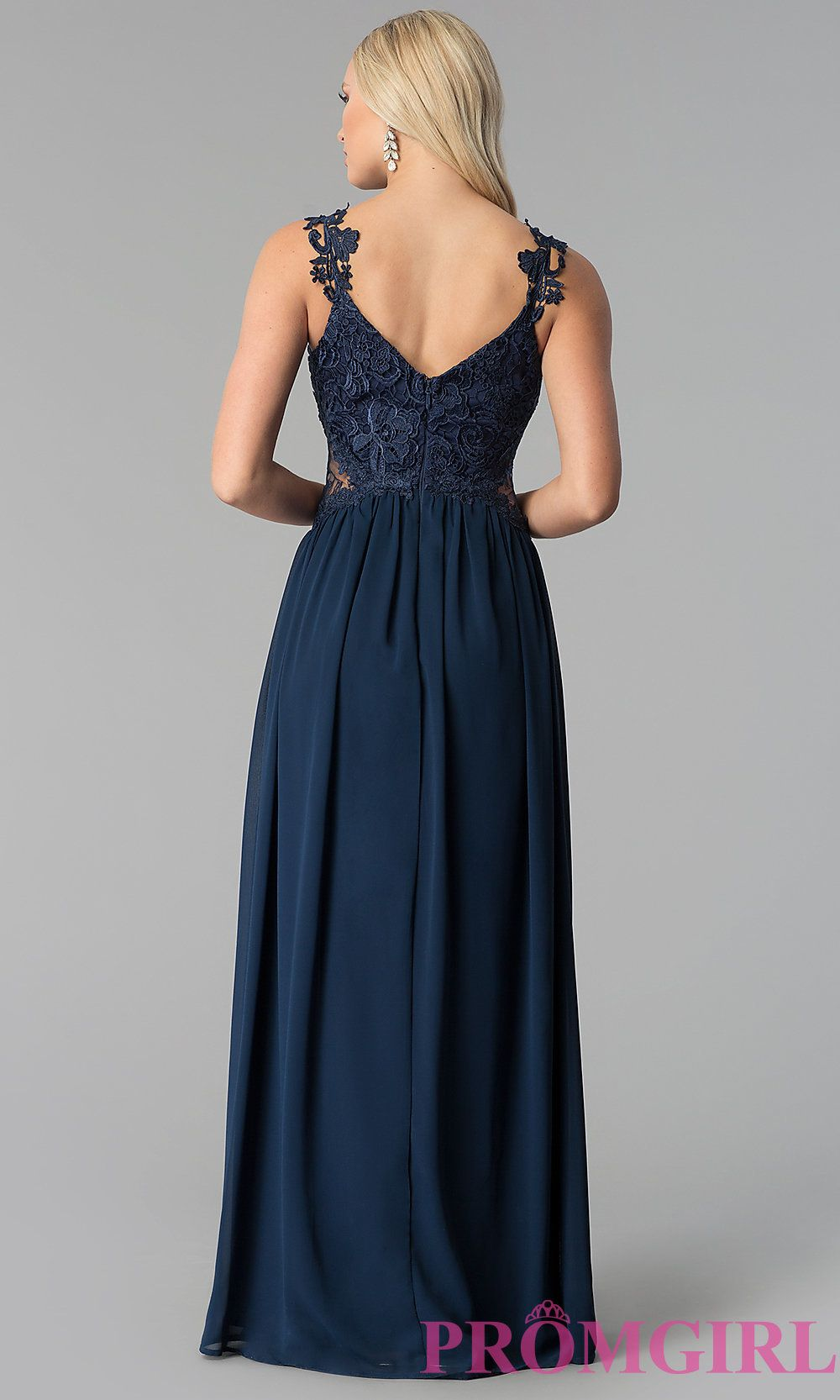 Image of sleeveless vneck long prom dress with embroidery style