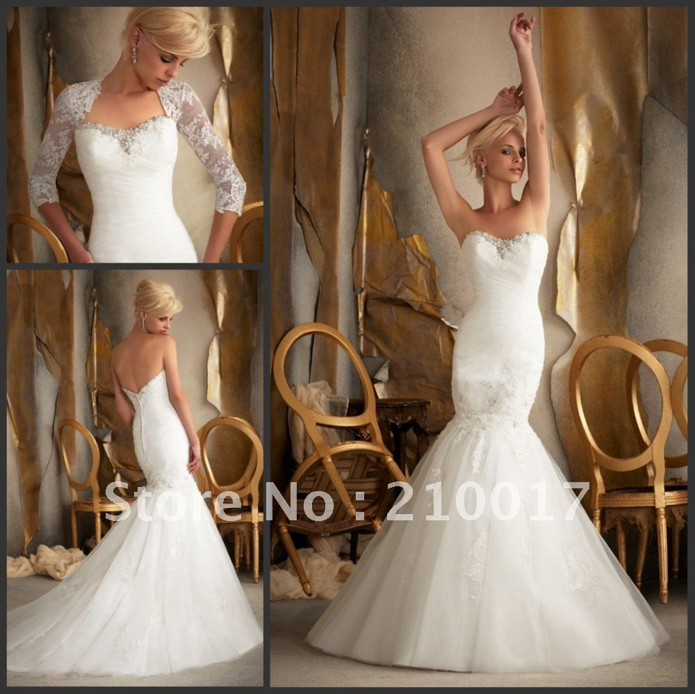 Aliexpress Ml1912 Free Shipping Beaded Liqued Bridal Gown With Detachable Lace Sleeves