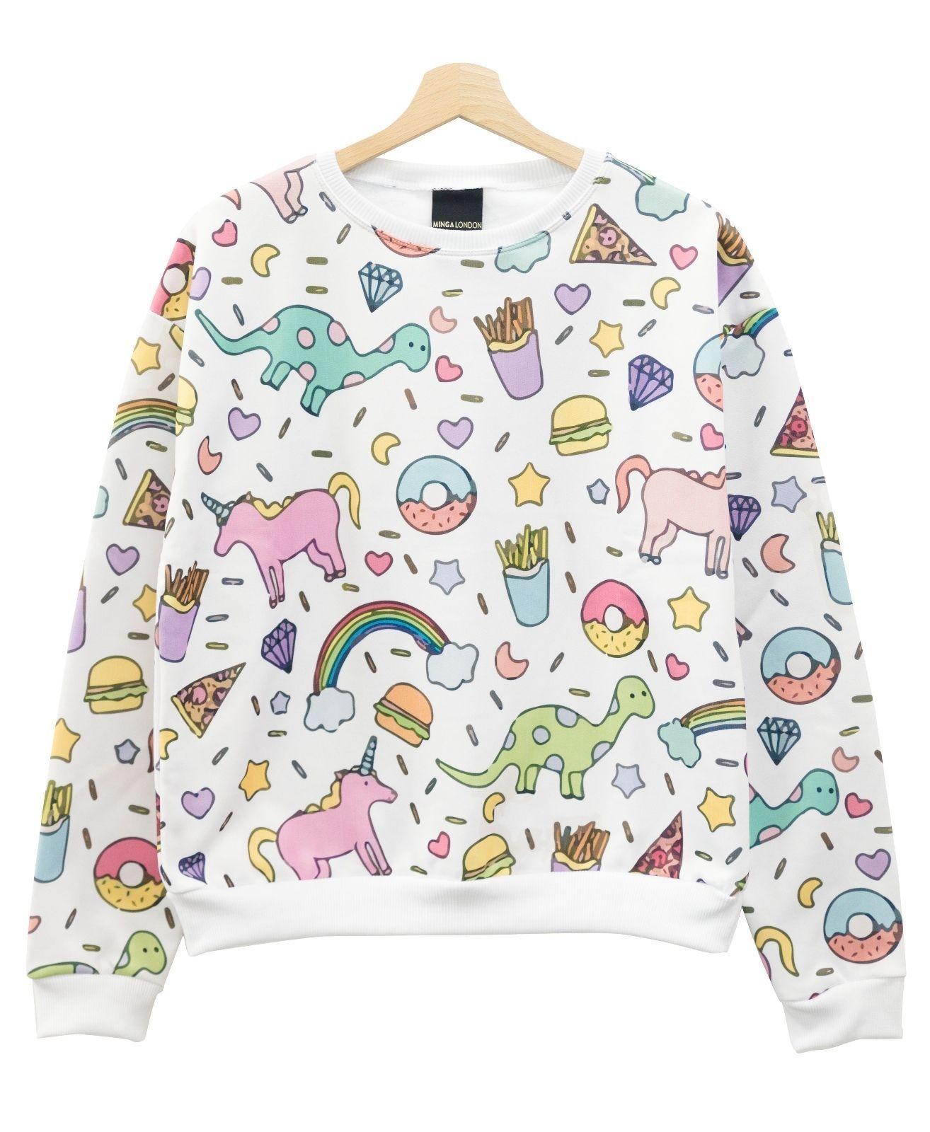 Unicorn sweater top jumper pastel goth swag womens harajuku girl ...