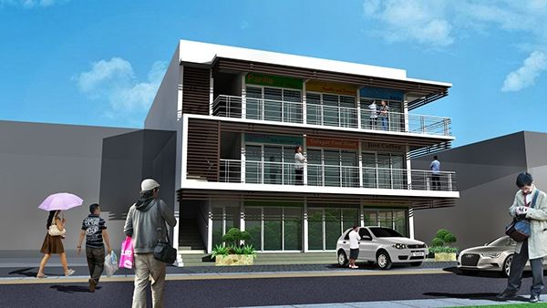 A Three Storey Commercial And Residential Building On Behance Office Building Plans Building Design Plan Commercial Building Plans