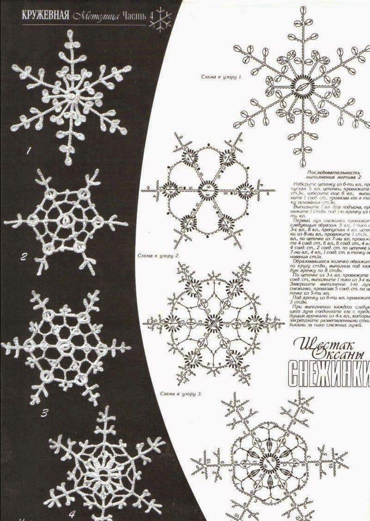 Horgolmány: Horgolt hópelyhek - gyűjtemény | Karácsonyfa díszek ...