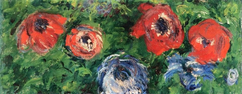 Monet - Anemones and Tulips in a Blue Vase