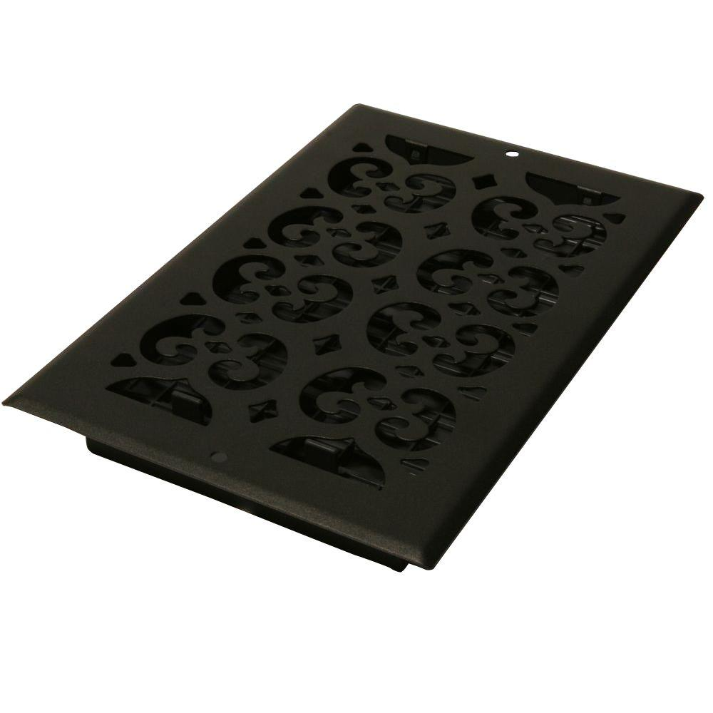 Decor Grates 12 In X 6 In Cast Iron Black Steel Scroll Wall And Ceiling Register St612w The Home Depot Wall Registers Wall Vent Covers Black Steel