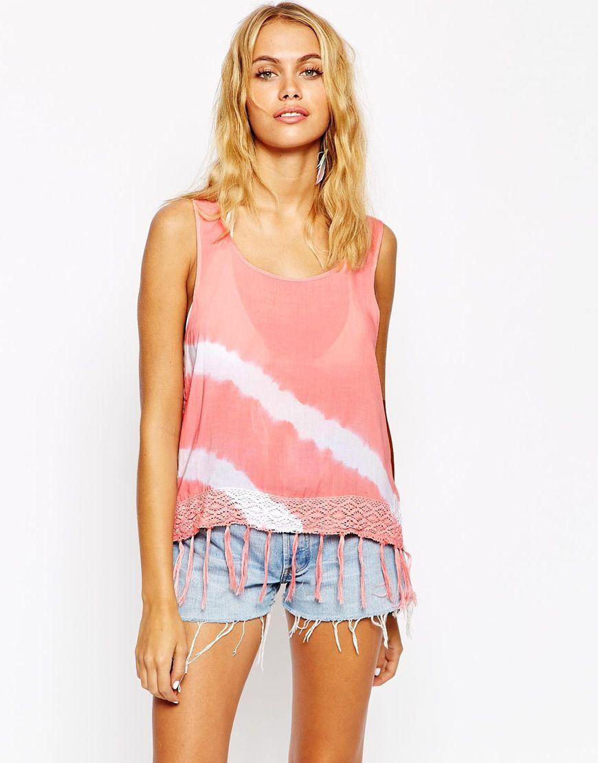 65216265797aa Surf Gypsy Tie Dye Crochet Beach Top in Pink (Peach)