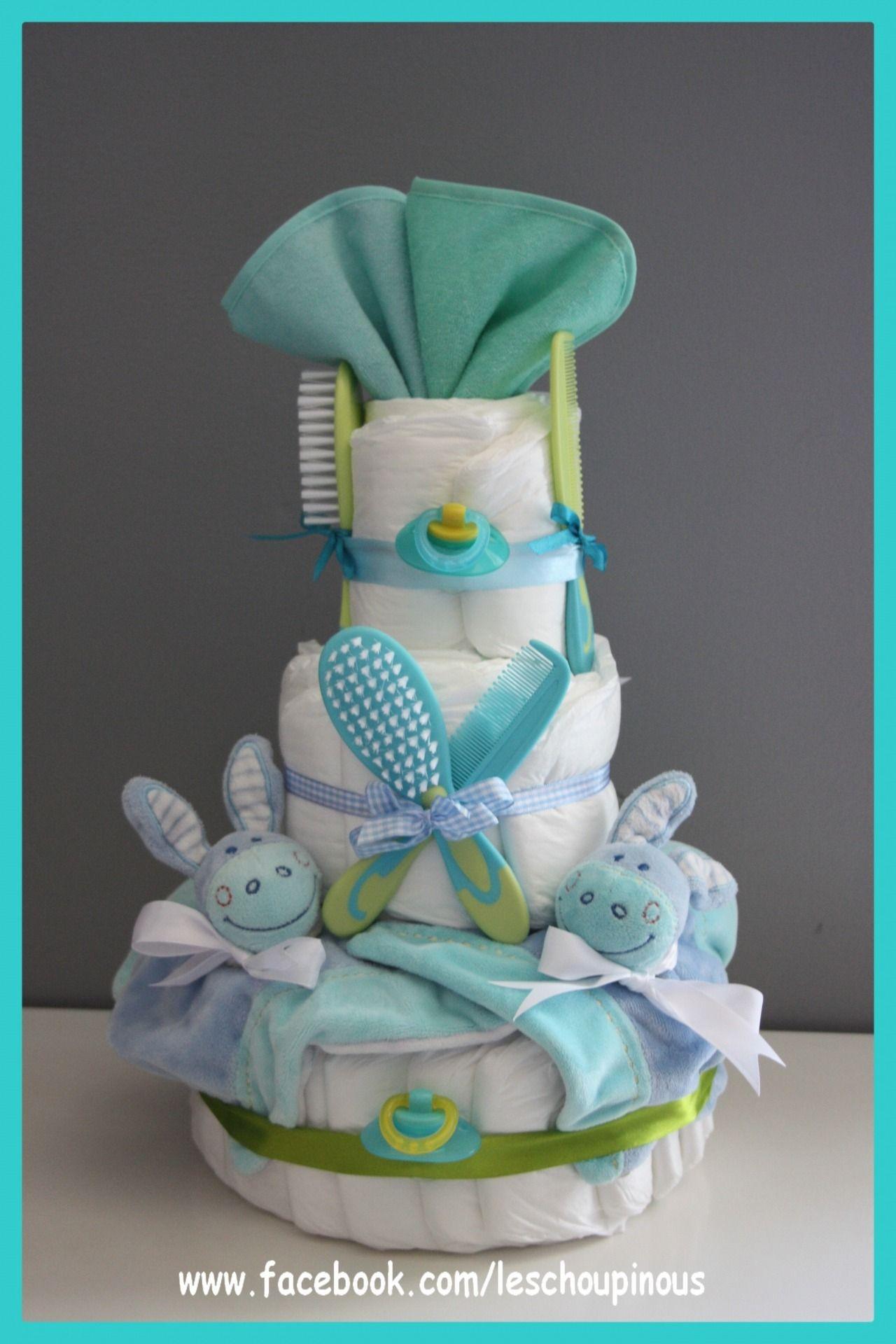 Gâteau De Couches Jumeaux Garçons Cadeau Naissance Baptême