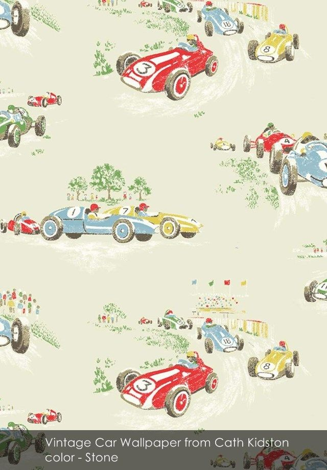 Lovely Vintage Car Wallpaper From Cath Kidston In Stone