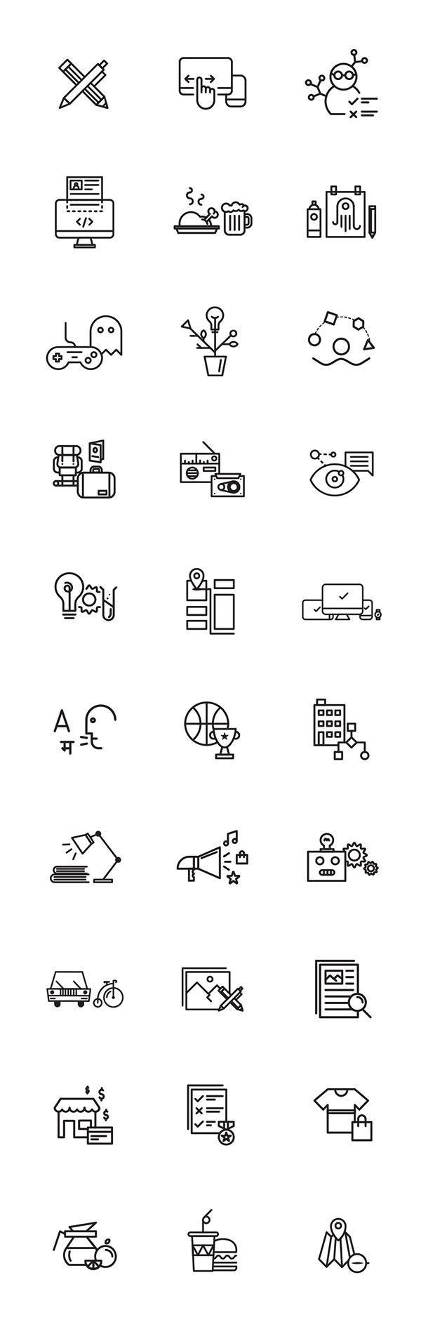 30 Free Icons On Behance Icon Design Inspiration Icon Design Free Icons [ 1900 x 600 Pixel ]
