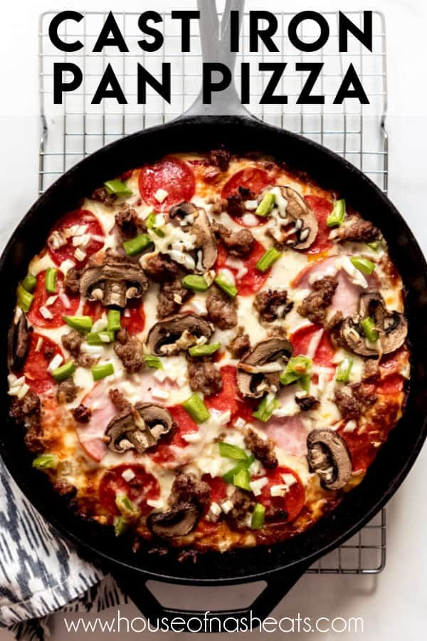 Cast Iron Pan Pizza has a crispy, fried crust and a thick, almost focaccia-like puffy interior with all your favorite toppings! It doesn't taste just like Pizza Hut: it tastes 1,000x better. #pizza #thickcrust #recipe #homemade #panpizza #castiron #pizzahut #dough #best #easy #overnight #crispy #copycat #crispy #cheesy