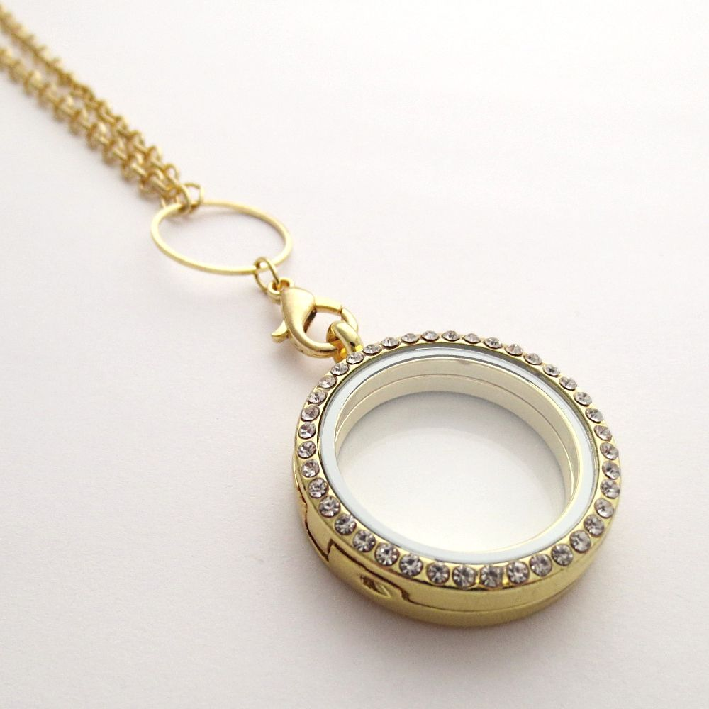 gold lockets clasp round locket magnetic crystal pin with clear living memory