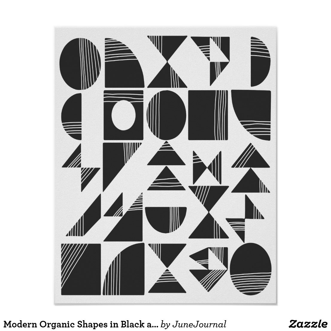 Modern Abstract Geometric Shapes Black And White Poster Zazzle Com Modern Pattern Geometric Black And White Artwork Geometric Shapes