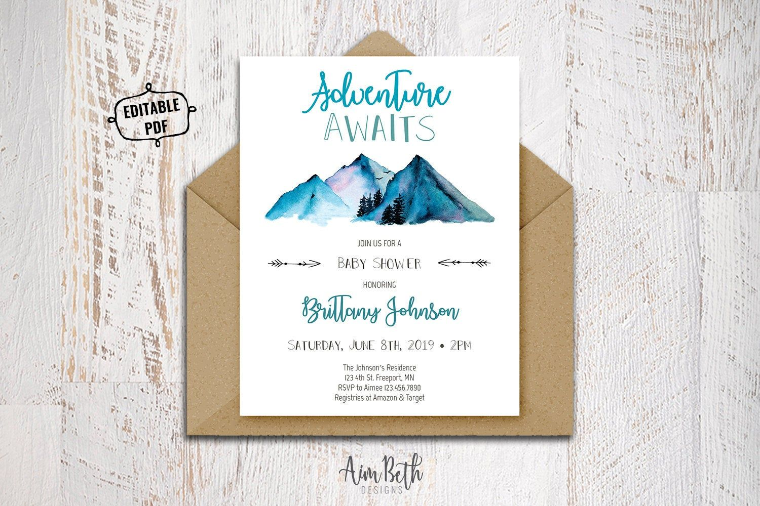 Adventure Awaits Baby Shower Invite Template Printable Gender Etsy Gender Neutral Baby Shower Invitations Baby Shower Invitation Templates Gender Neutral Invitations
