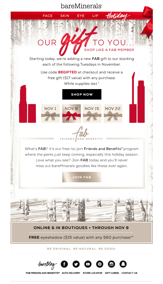 bareMinerals is giving gifts to their customers throughout the ...