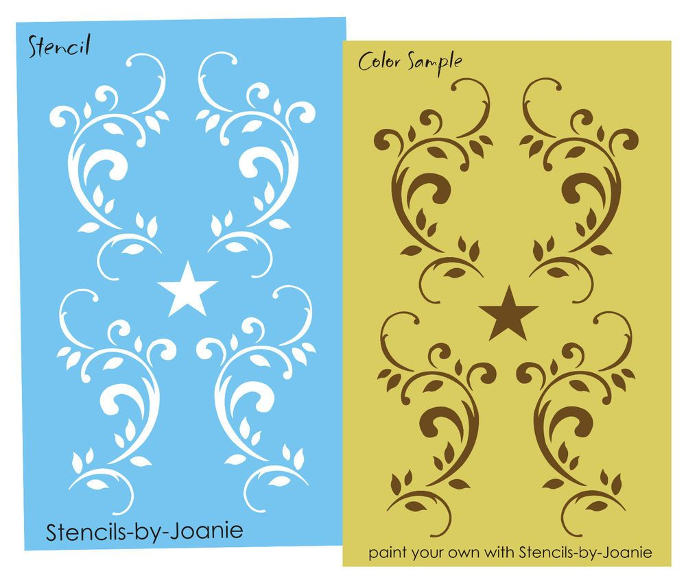 Joanie LG STENCIL Scrolling Vine Star Door Panel Cottage Decor Wall ...