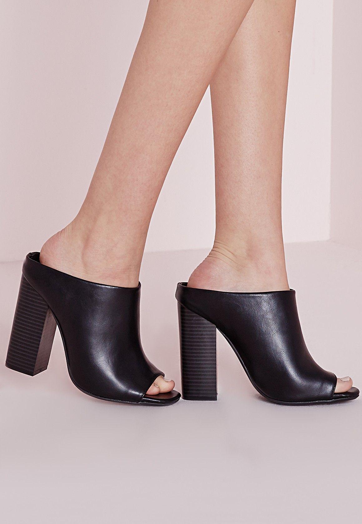 Missguided Asymmetric Slip On Mule Black Style Envy
