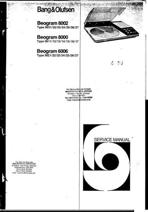 Bang & Olufsen Beogram 6006 . 8000 , 8002 Service Manual