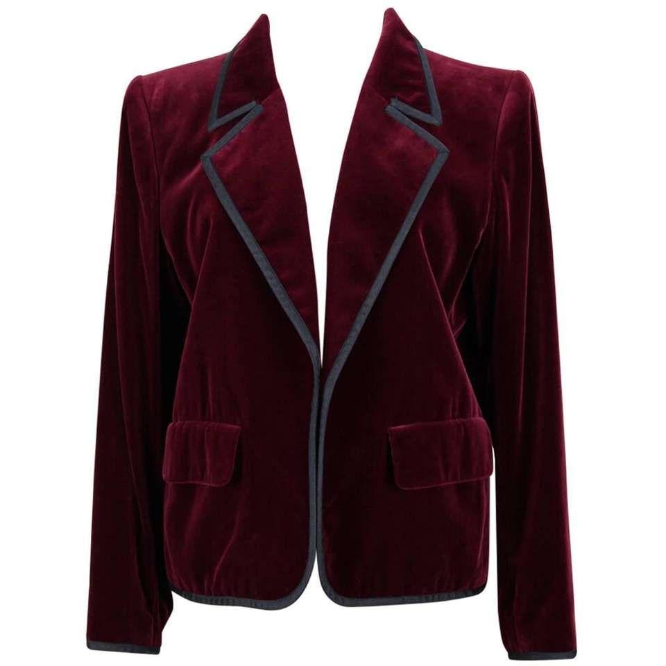 1e3adaf4700 Yves Saint Laurent YSL Vintage Burgundy Red Velvet Blazer Jacket Ribbon Trim  For Sale