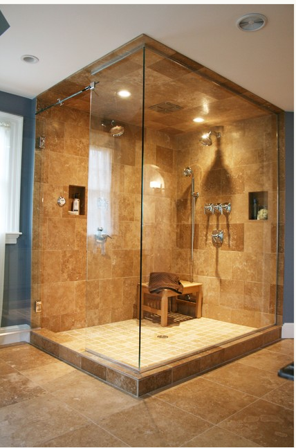 Now Trending In Luxury Baths Steam Showers Made Of Natural Stone Big Shower Traditional Bathroom Dream Bathrooms