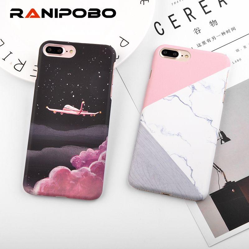 satın almak Granit Fırçalama Mermer Telefon Kılıfları iPhone 6 6 S 7 Artı 5 5  S SE 3D Uçak Yıldız Plastik Sert Arka Kapak Kılıf iphone 8 Artı 98dfc691abd