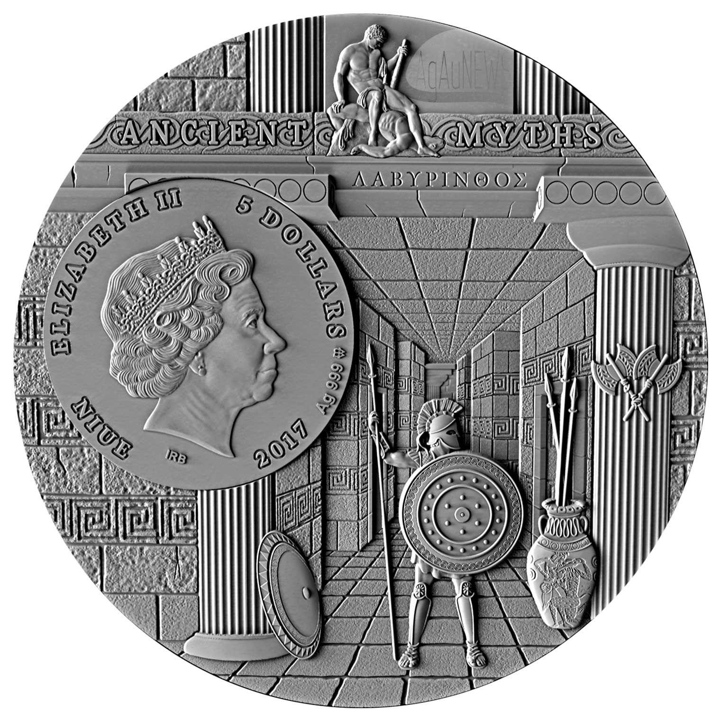 2017 Niue 2 Oz 5 Silver Coin Ancient Myths Minotaur Brass Insert Ancient Myths Silver Coins Coins