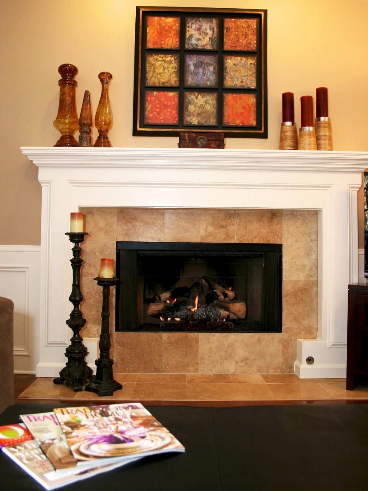 Fireplace With White Mantel And Tile Surround White Fireplace Mantels Living Room Style Transitional Living Rooms