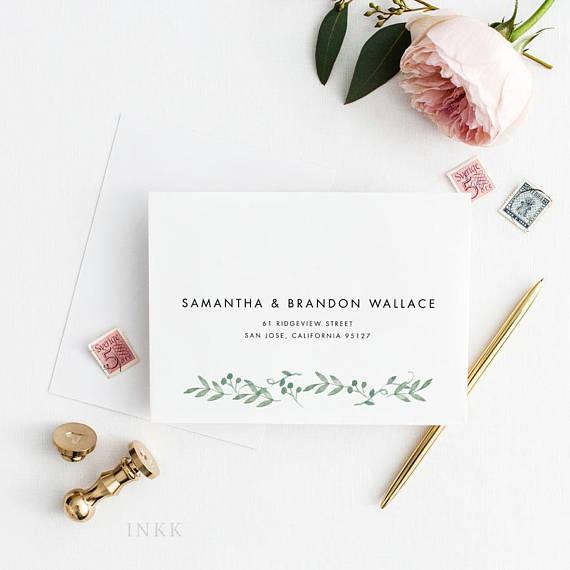 Envelope Addressing Service Botanical Wedding Invitation Envelope