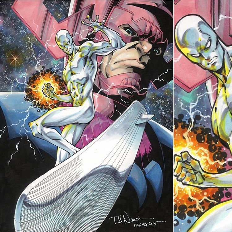 #SilverSurfer and #Galactus by Todd Nauck A commission from a few months back. #Marvel #comics #Copic #sketch #markers #Uniball #Signo white gel pen #art #illustration #instaart