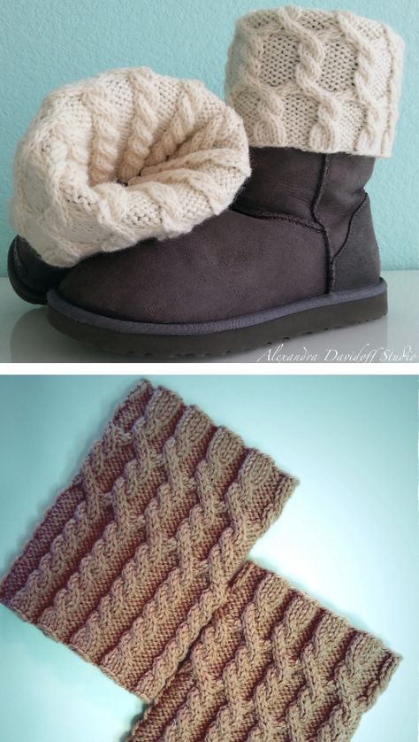 Free Knitting Pattern for UGG HUG Boot Toppers - Cabled ...