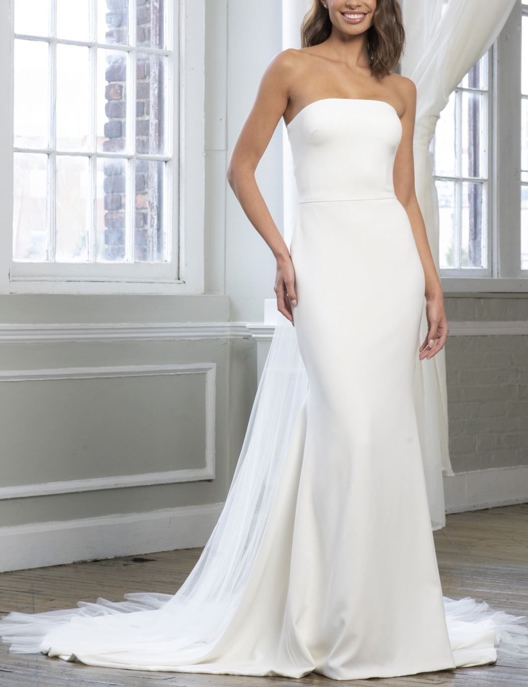 Theia's 'Lindsay' wedding dress is a strapless crepe gown