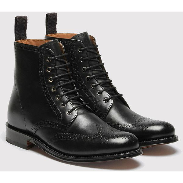 Womens Grenson Ella Brogue Boot - Black
