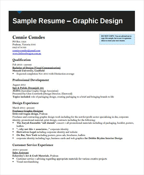 graphic design resume samples pdf sample photos examples - brief resume sample