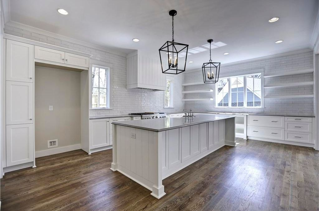Transitional Kitchen With 19th C English Openwork Pendant Meridian Gray Quartz Countertop Shaker Recessed Panel Cabinets