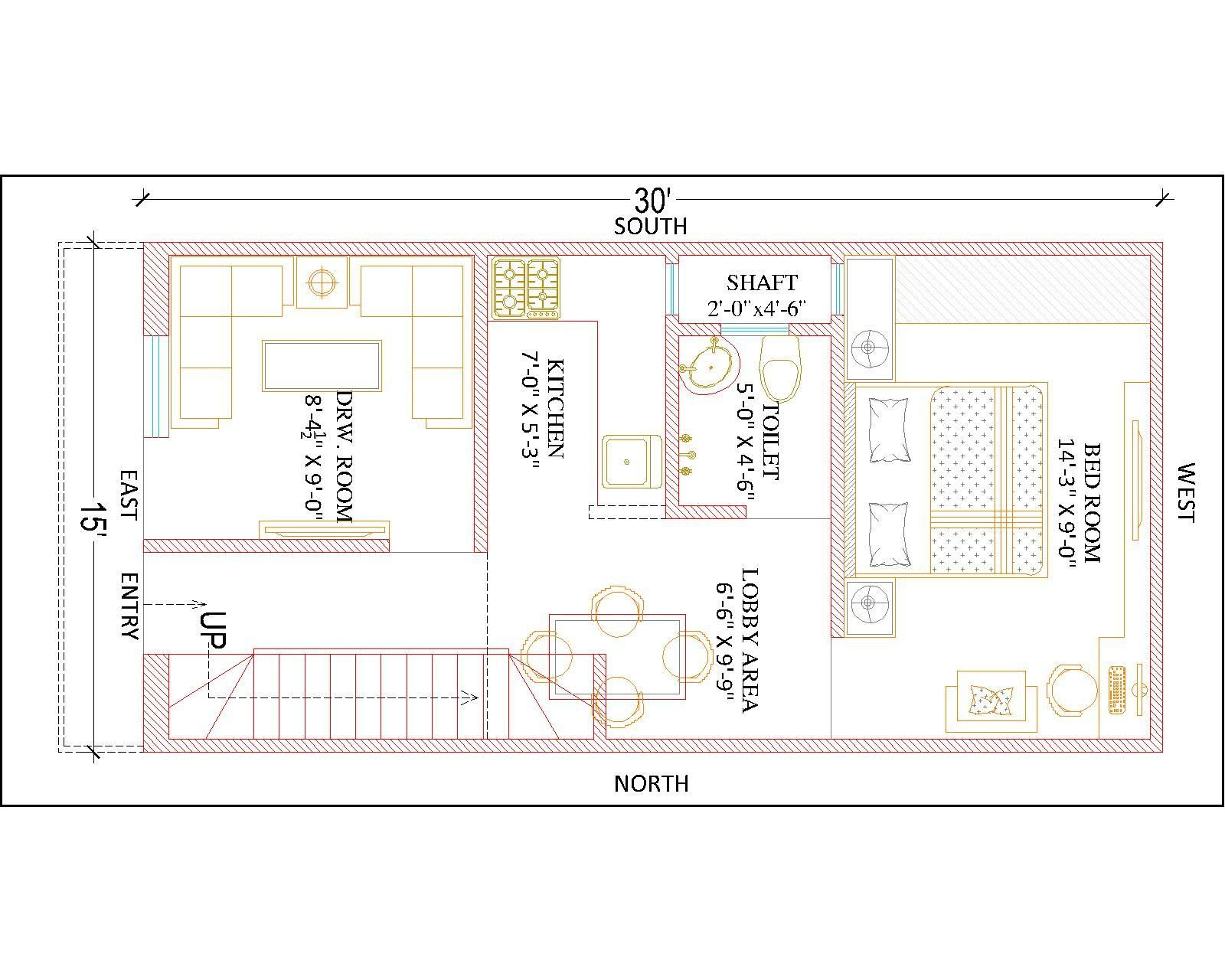 15 X 30 Ground Floor Plan 2bhk House Plan House Plans Indian House Plans