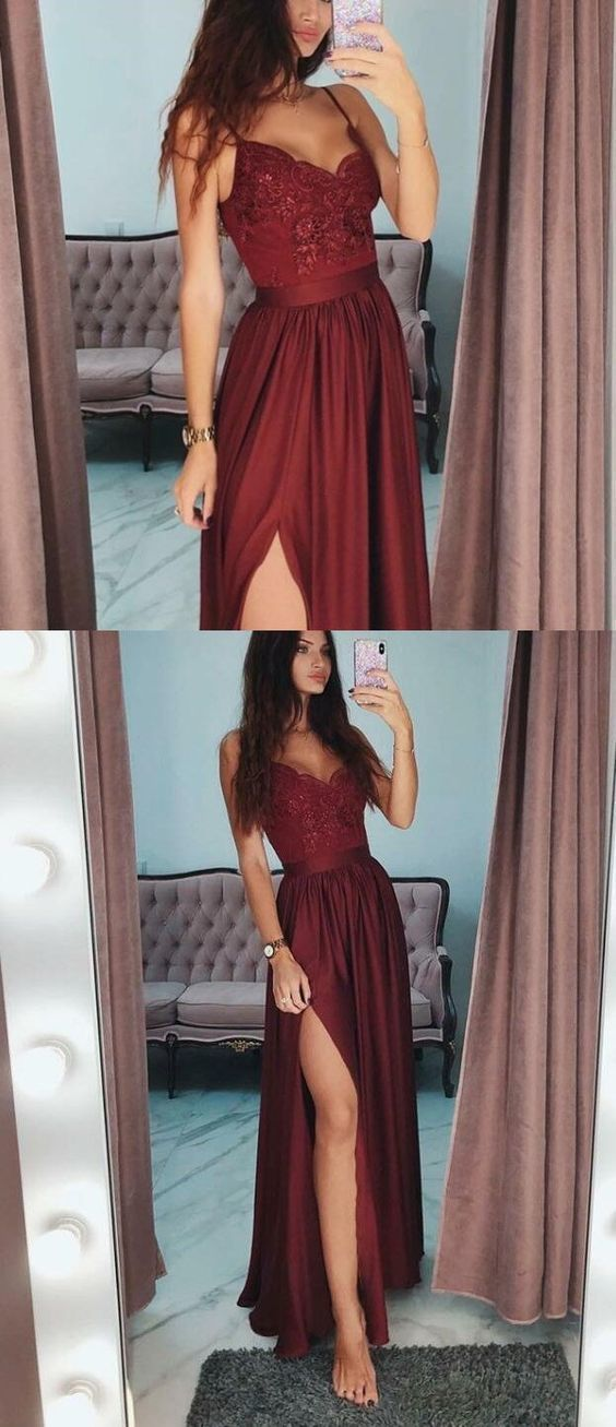 2019 Burgundy Prom Dresses Long, A-Line Prom Gown with Slit, Spaghetti Straps Formal Dresses Cheap