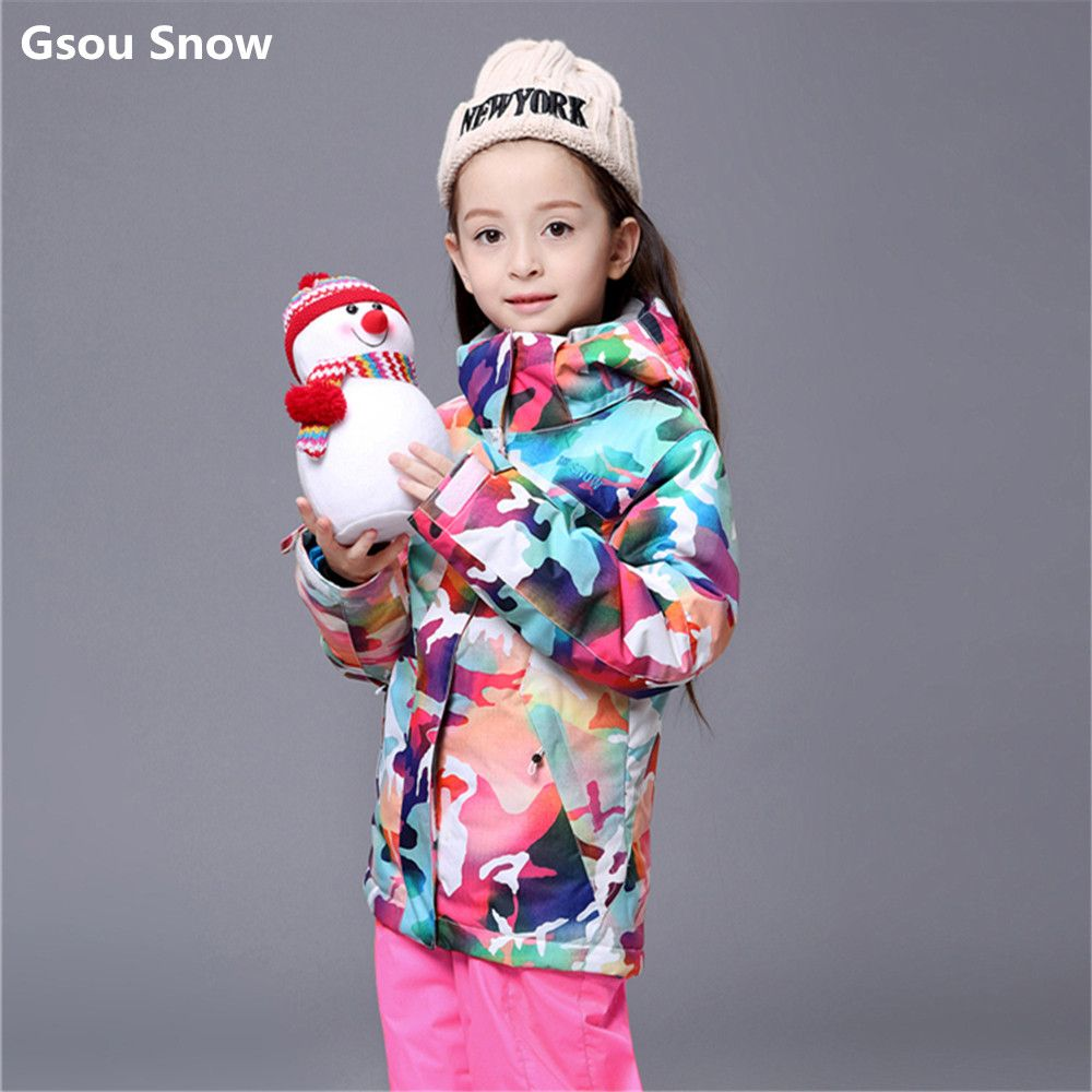9225fe55c Gsou Snow kids ski suit girls colorful snowboard jacket large girl ...