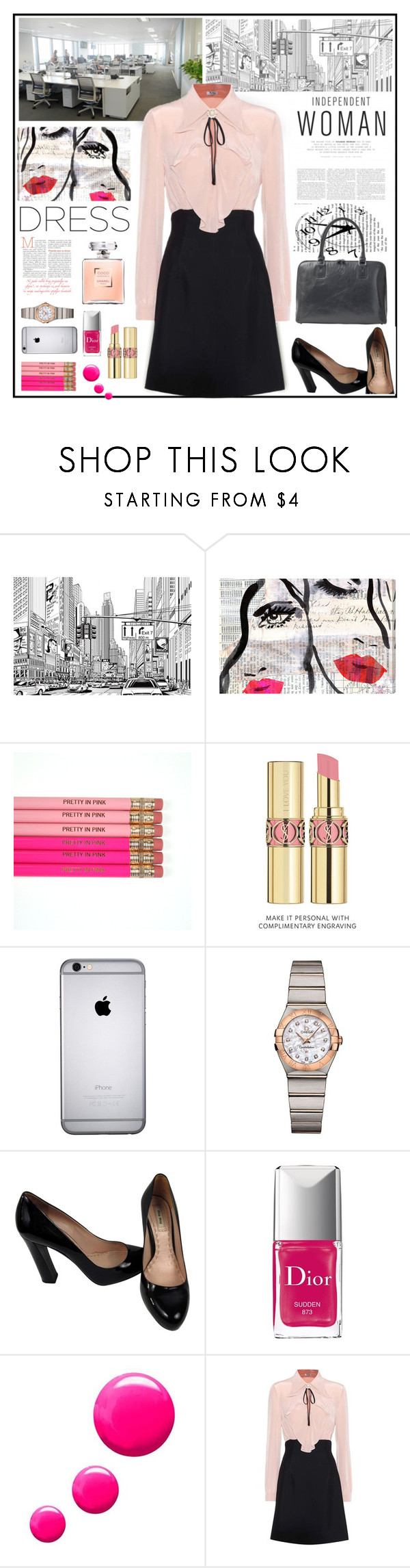 """Independent Woman"" by pumsiks ❤ liked on Polyvore featuring Oliver Gal Artist Co., Yves Saint Laurent, OMEGA, Miu Miu, Christian Dior, Topshop and Maxwell Scott Bags"