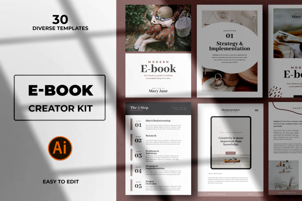 Modern Abstract Ebook Templates by andrewtimothy on Envato