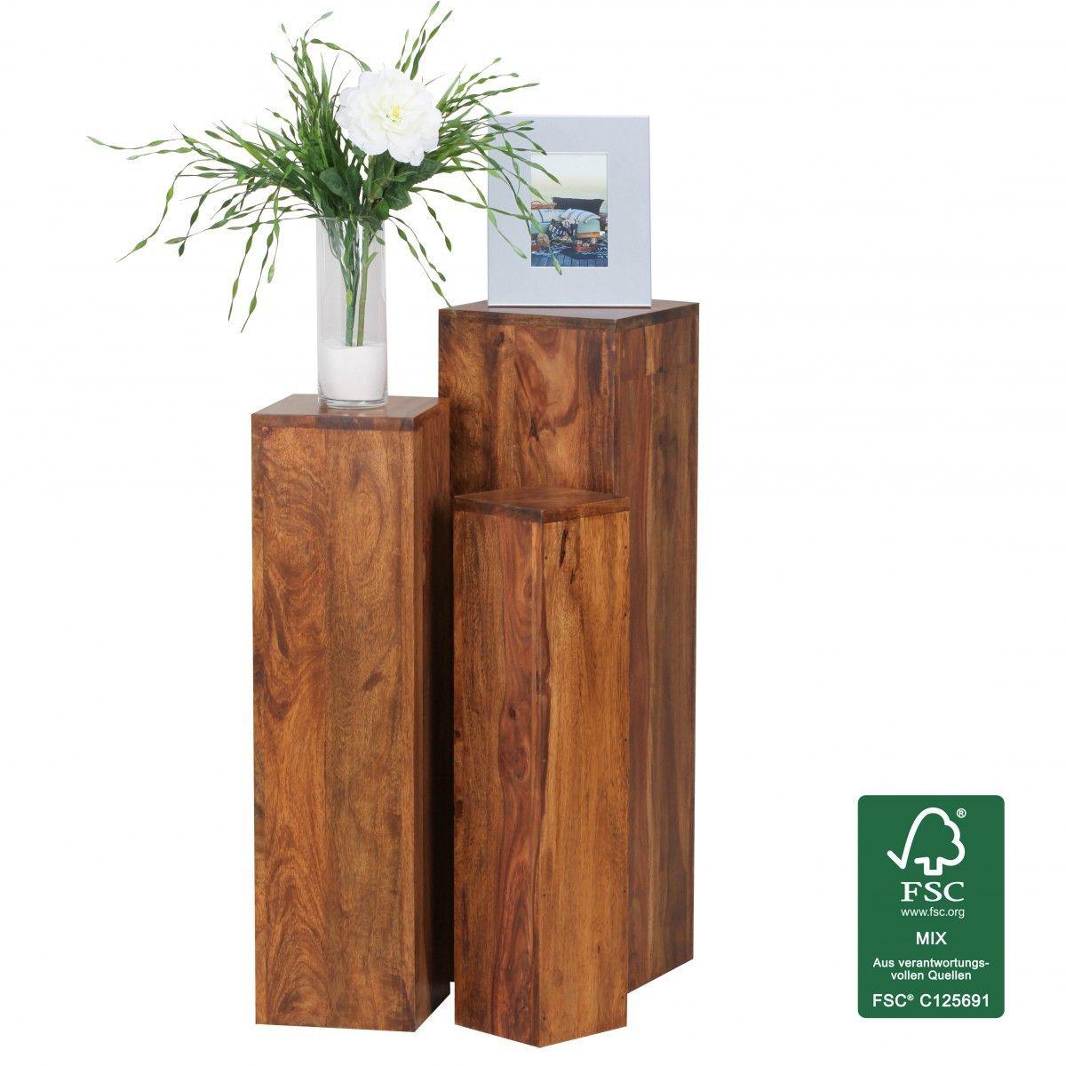 Finebuy Beistelltisch 3er Set Massivholz Sheesham Wohnzimmertisch Design Saulen Landhausstil Turme Tisch Quadratisch J Holztisch Natur Holztisch Beistelltische