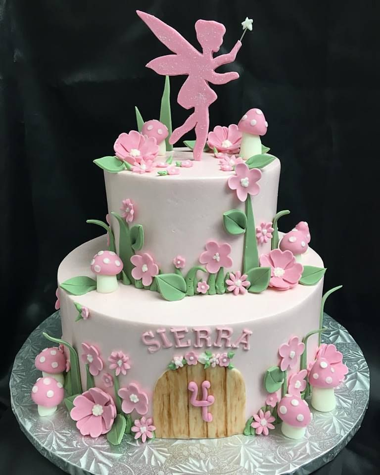 Prime Pink Fairy Garden Cake Taart Verjaardag Taarten Cupcakes Funny Birthday Cards Online Inifodamsfinfo