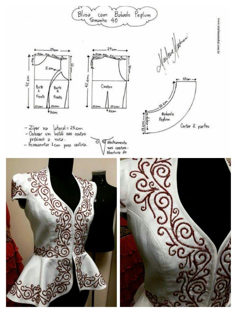 Embroidered outer | blusas | Pinterest | Costura, Bordado y Patrones ...