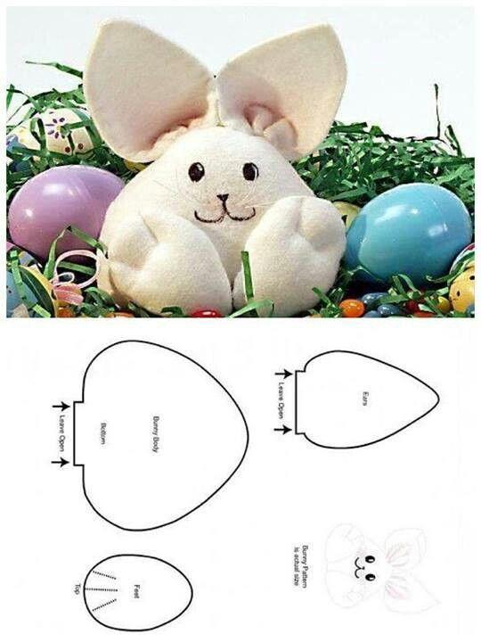 Conejo de pascua | paño lenci | Pinterest | Costura, Moldes y Conejo ...