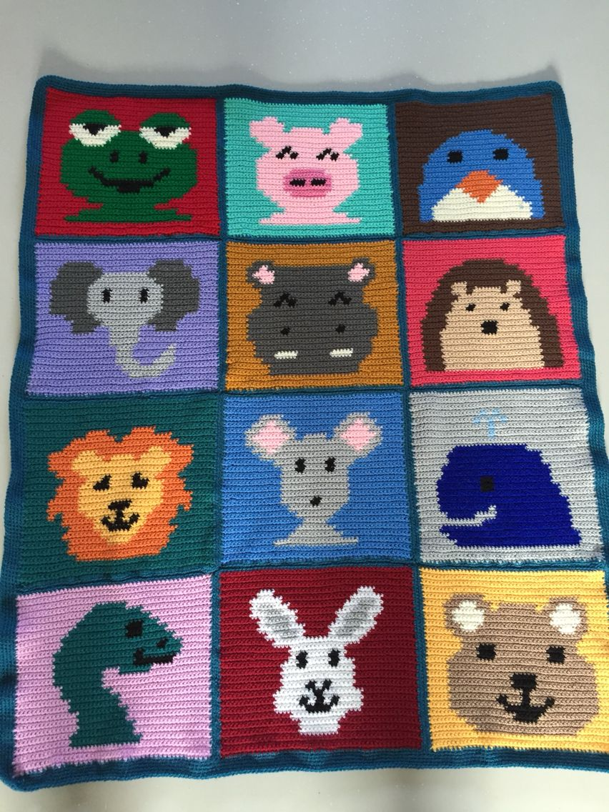 Crochet baby blanket made from a knitting pattern. http://www ...