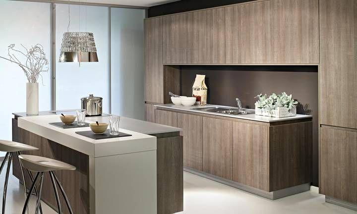 grifflose Küche Holzoptik grifflose Küchen Pinterest