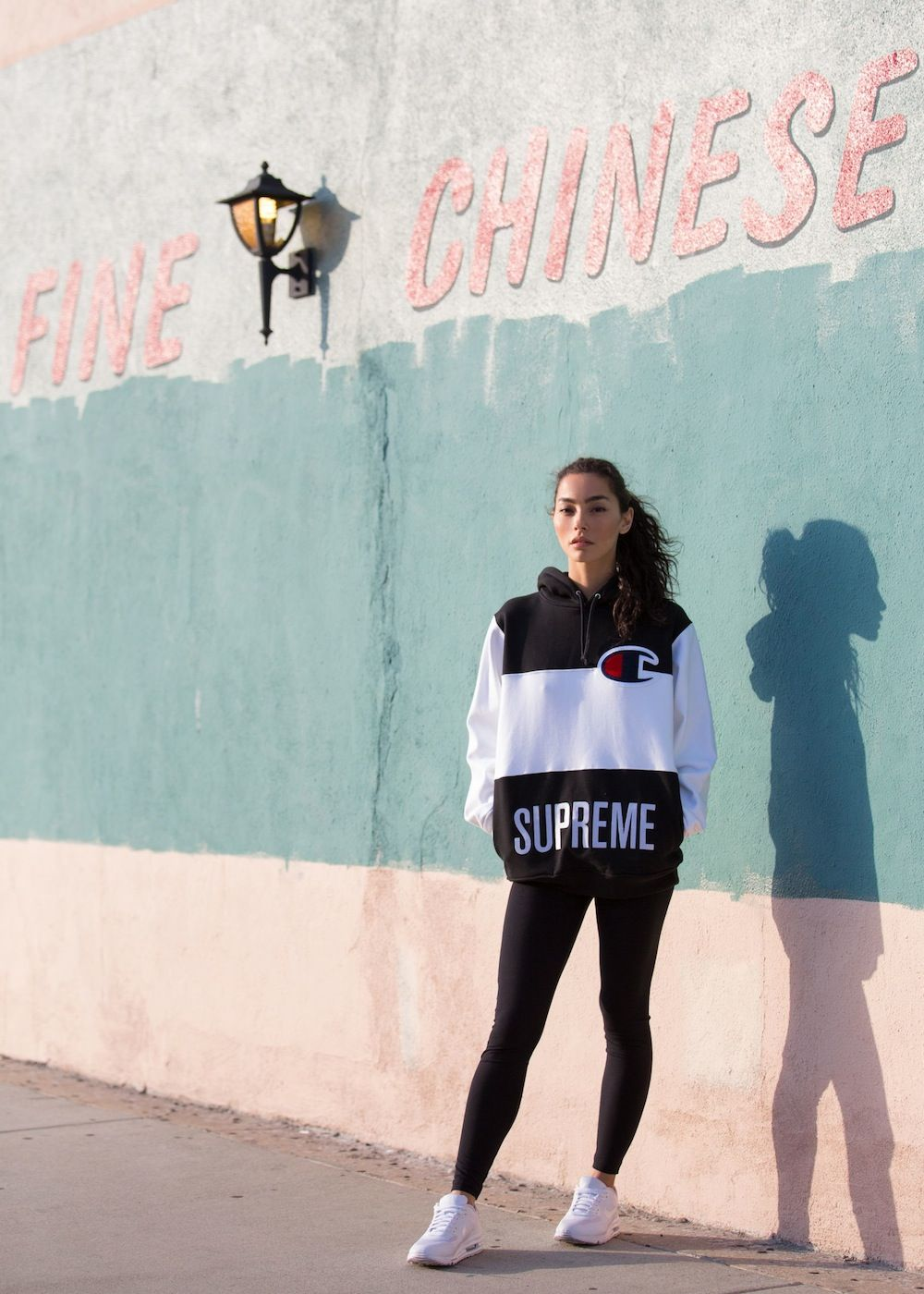 Adrianne Ho wearing Supreme x Champion Hooded Sweatshirt.  eafc607548
