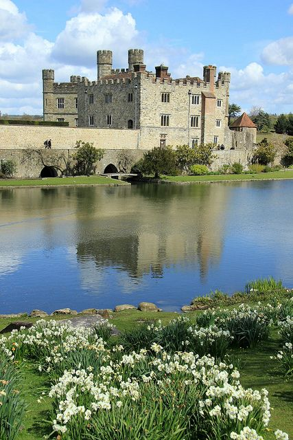 """Leeds Castle, Kent, England. Book a room in the Maiden ' Tower-- or opt for """"Knight's Glamping"""" and sleep in  a colorfully striped medieval - style tent in the vineyard. Leeds-castle. Com"""