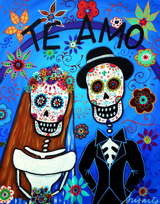 Wedding Day Of The Dead Skull Dia De Los Muertos Calavera Painting Prints Prisarts Pristine Cartera Turkus Mexican Folk Art Artist Cool